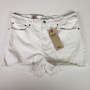 LEVI'S High Rise Distressed Shorts, White, 16/33W